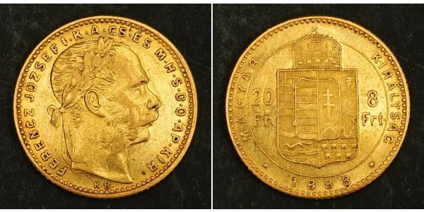 8 Forint / 20 Franc 奥匈帝国 (1867 - 1918) 金 弗朗茨·约瑟夫一世 (1830 - 1916)