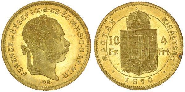 8 Forint / 20 Franc Imperio austrohúngaro (1867-1918) Oro Franz Joseph I (1830 - 1916)