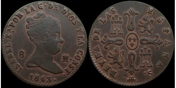 8 Maravedi Kingdom of Spain (1814 - 1873) 銅 Isabella II of Spain (1830- 1904)