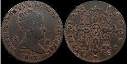 8 Maravedi Kingdom of Spain (1814 - 1873) Kupfer Isabella II of Spain (1830- 1904)