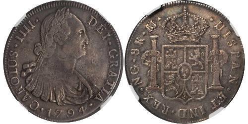 8 Real 危地马拉 銀 卡洛斯四世 (1748-1819)