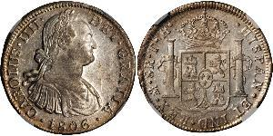 8 Real 新西班牙總督轄區 (1535 - 1821) 銀 卡洛斯四世 (1748-1819)
