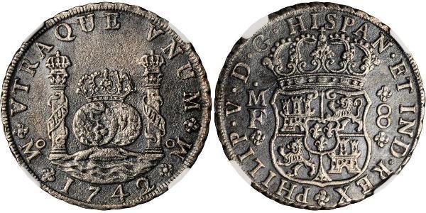 8 Real 新西班牙總督轄區 (1535 - 1821) 銀 Philip V of Spain(1683-1746)