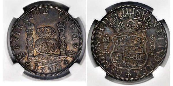 8 Real 新西班牙總督轄區 (1535 - 1821) 銀 卡洛斯三世 (西班牙) (1716 -1788)