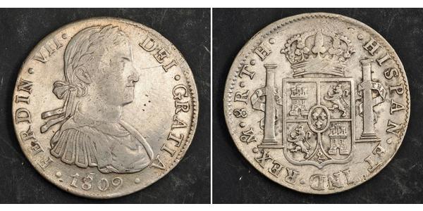 8 Real 新西班牙總督轄區 (1535 - 1821) 銀 费尔南多七世 (1784 - 1833)
