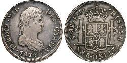 8 Real Cile Argento Ferdinando VII di Spagna (1784-1833)