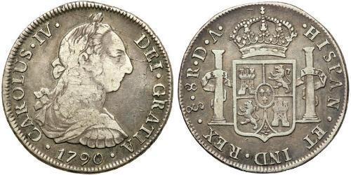 8 Real Cile Argento Carlo IV di Spagna (1748-1819)