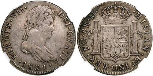 8 Real Guatemala / Spanish Colonies Argento Ferdinando VII di Spagna (1784-1833)