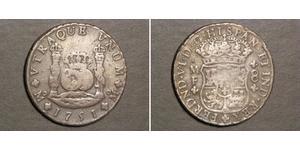 8 Real Vicereame della Nuova Spagna (1519 - 1821) Argento Ferdinando VI di Spagna (1713-1759)