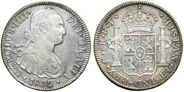 8 Real Vicereame della Nuova Spagna (1519 - 1821) Argento Carlo IV di Spagna (1748-1819)
