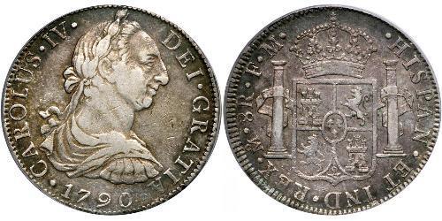 8 Real Virreinato de Nueva España (1519 - 1821) Plata Carlos IV de España (1748-1819)