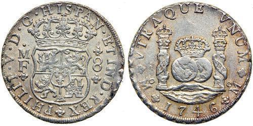8 Real Virreinato de Nueva España (1519 - 1821) Plata Felipe V de España (1683-1746)