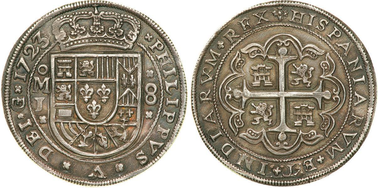 Münze 8 Real Vizekönigreich Neuspanien 1519 1821 Silber 1723