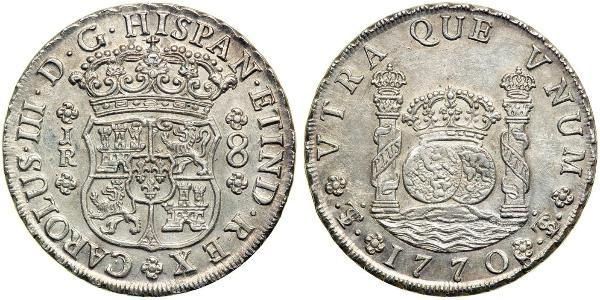 8 Real Bolivia / Viceroyalty of Peru (1542 - 1824) Silver Charles III of Spain (1716 -1788)