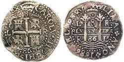 8 Real Peru Silver Charles II of Spain (1661-1700)