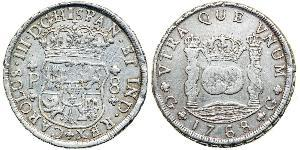8 Real Spanish Empire (1700 - 1808) Silver Charles III of Spain (1716 -1788)