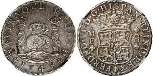 8 Real Spanish Mexico  / Kingdom of New Spain (1519 - 1821) Silver Ferdinand VI of Spain (1713-1759)