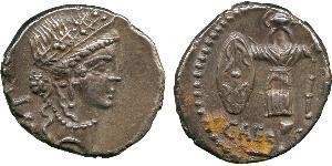 Денарий Римская республика (509BC-27BC) Серебро Юлий Цезарь (100BC- 44 BC)