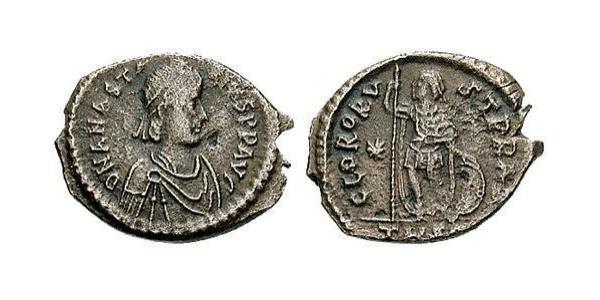 AE3 / 1 Фоллис Византийская империя (330-1453) Серебро Анастасий I (430-518)