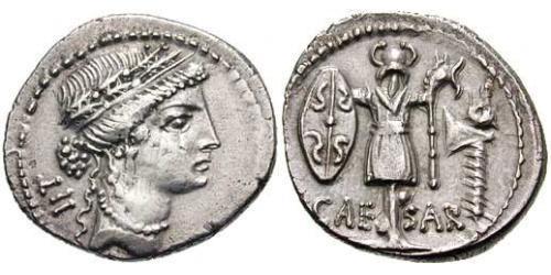 Denier République romaine (509BC-27BC) Argent Jules César (100BC- 44 BC)