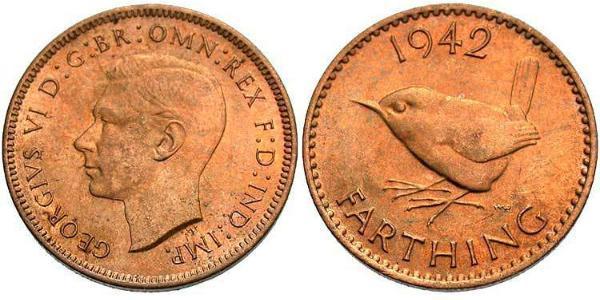 Farthing Feriind Kiningrik (1922-) Bronze George VI (1895-1952)