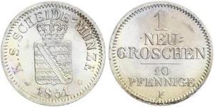 Grosh / 10 Pfennig Reino de Sajonia (1806 - 1918)  Federico Augusto II de Sajonia