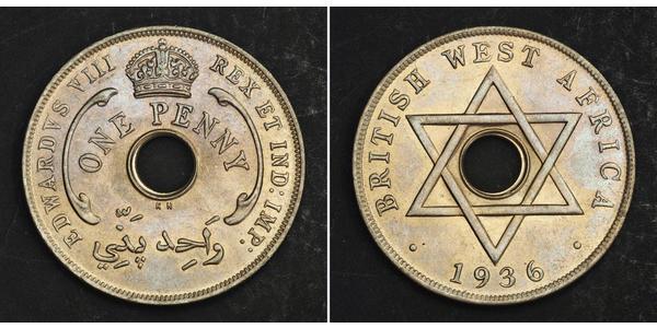 Penny British West Africa (1780 - 1960) Copper/Nickel Edward VIII (1894-1972)