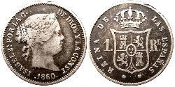 Real Kingdom of Spain (1814 - 1873) Silver Isabella II of Spain (1830- 1904)