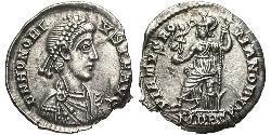 Siliqua Imperio romano de Occidente (285-476) Plata Honorio (384-423)