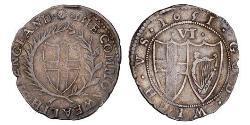 Sixpence Mancomunidad de Inglaterra (1649-1660) Plata