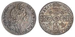 Sixpence Kingdom of England (927-1649,1660-1707) Silver William III (1650-1702)