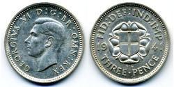 Threepence Vereinigtes Königreich (1922-) Silber Georg VI (1895-1952)