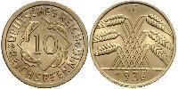 10 Pfennig / 10 Reichpfennig Repubblica di Weimar (1918-1933) Ottone