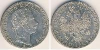 1 Гульден / 1 Флорин Австрийская империя (1804-1867) Серебро Франц Иосиф I (1830 - 1916)