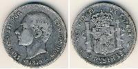 2 Peseta Kingdom of Spain (1874 - 1931) Silver Alfonso XII of Spain (1857 -1885)