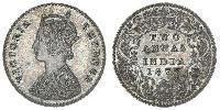 2 Anna 英属印度 (1858 - 1947) 銀 维多利亚 (英国君主)