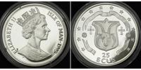 25 Ecu Isla de Man Plata Isabel II (1926-)