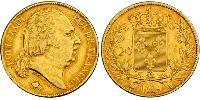 20 Franc Kingdom of France (1815-1830) Oro Luigi XVIII di Francia (1755-1824)