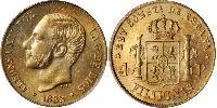 4 Песо Филиппины Золото Alfonso XII of Spain (1857 -1885)