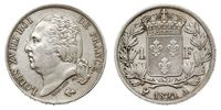 1 Franc France / Kingdom of France (1815-1830) Silver Louis XVIII of France (1755-1824)