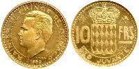 10 Франк Монако Золото Ренье III (князь Монако)
