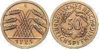 50 Pfennig / 50 Reichpfennig Repubblica di Weimar (1918-1933) Ottone