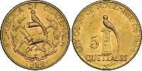 5 Quetzal Republic of Guatemala (1838 - ) Gold