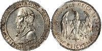 5 Reichsmark Веймарская республика (1918-1933) Серебро Эберхард I Светлый