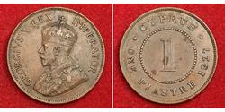 1 Piastre British Cyprus (1878 - 1960) Cobre Jorge V (1865-1936)