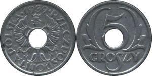 5 Грош Польская Республика (1918 - 1939) Цинк