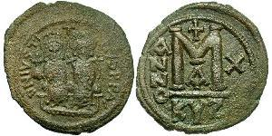 Follis Byzantine Empire (330-1453) Bronze Justin II (520-578)
