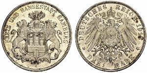 3 Mark 汉堡 / 联邦州 (德国) 銀