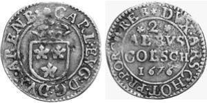 2 Albus County of Arenberg (1549 - 1810) 銀 Charles Eugene, 2nd Duke of Arenberg (1633–1681)