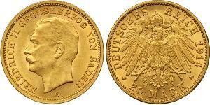 20 Mark Grand Duchy of Baden (1806-1918) Gold Frederick II, Grand Duke of Baden (1857 - 1928)